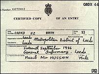 Hasib Hussain's birth certificate