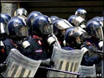 Italian riot police at G8 summit, AP