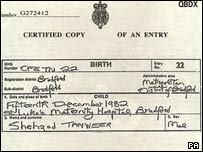 Shehzad Tanweer's birth certificate